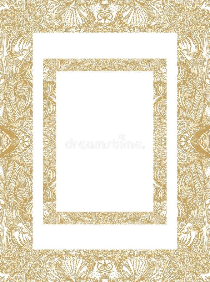 Modelo del marco del oro, cosechado en una forma oblonga, de la base compleja manualmente dibujada stock de ilustración