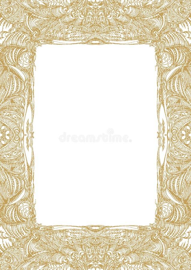 Modelo del marco del oro, cosechado en una forma oblonga, de la base compleja manualmente dibujada ilustración del vector