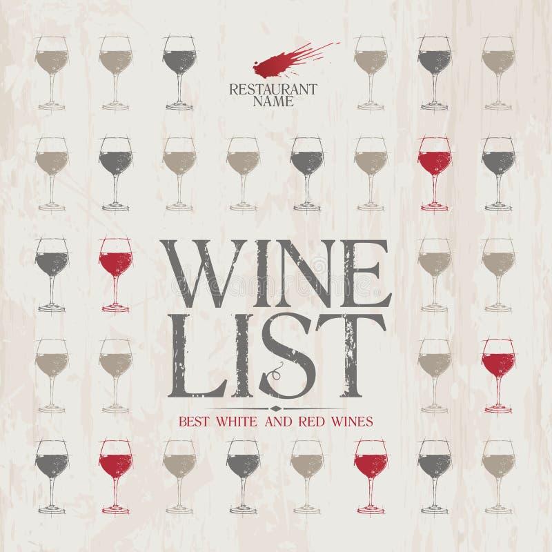 Modelo del menú de la lista de vino. ilustración del vector