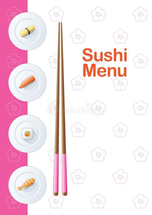 Modelo del menú del sushi ilustración del vector
