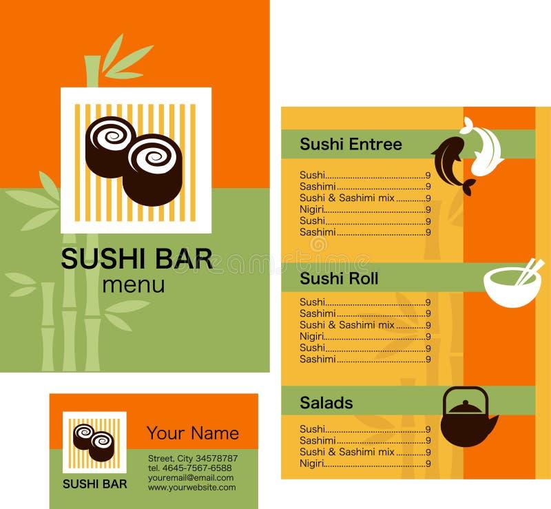 Modelo del menú del sushi y tarjeta de visita, con insignia stock de ilustración