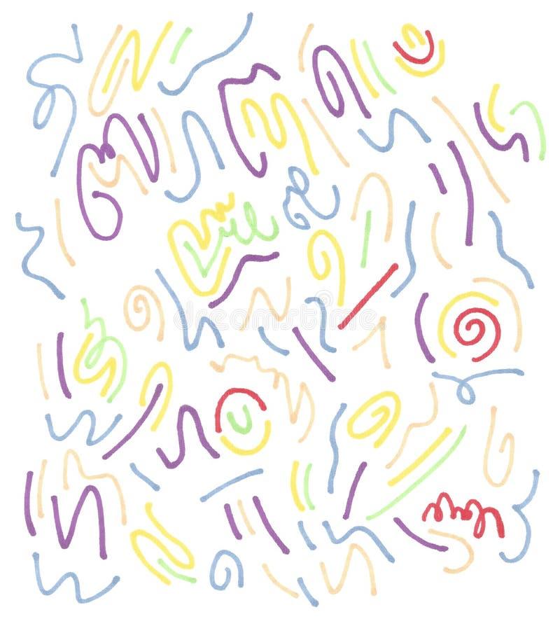 Modelo del movimiento del marcador abstraiga el fondo Ilustraciones de la trama Niños, dibujo de bosquejo de los niños ilustración del vector