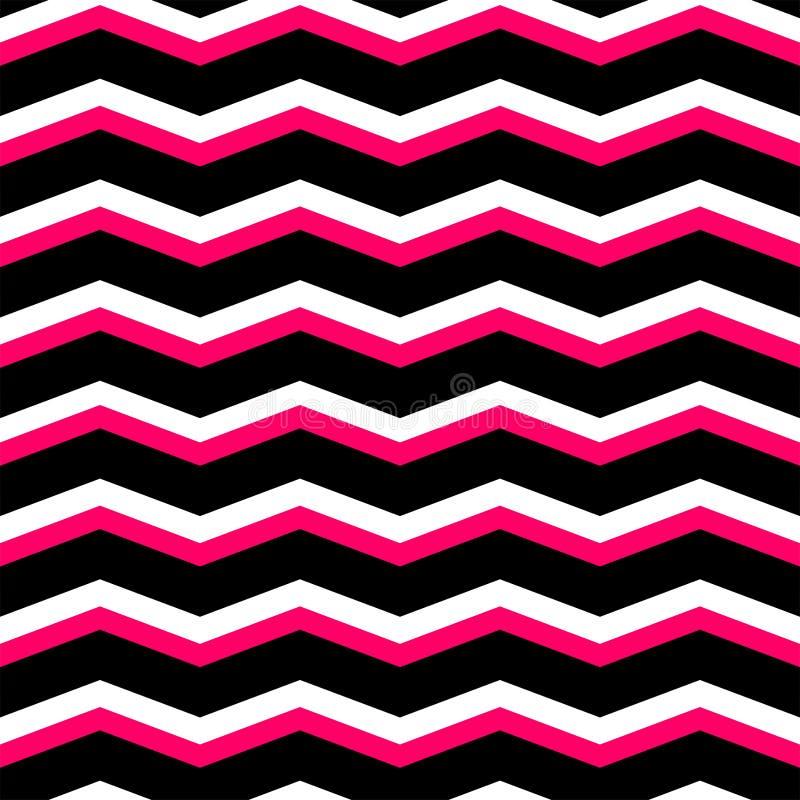 Modelo del negro del galón del zigzag, rosado y blanco de la teja del vector ilustración del vector