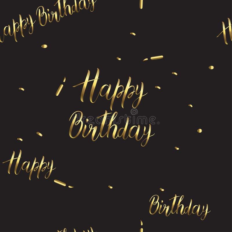 modelo del Negro-y-oro con una muestra del cumpleaños Inscripción del feliz cumpleaños stock de ilustración