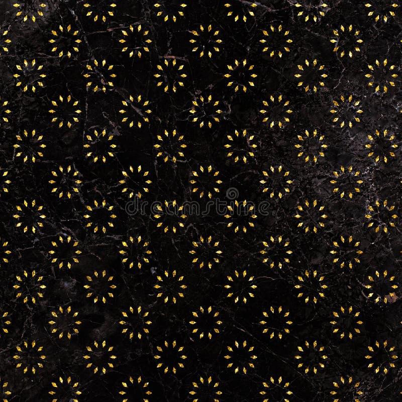 Modelo del ornamento floral del brillo en el fondo de mármol Modelo geométrico del brillo Fondo floral del oro stock de ilustración
