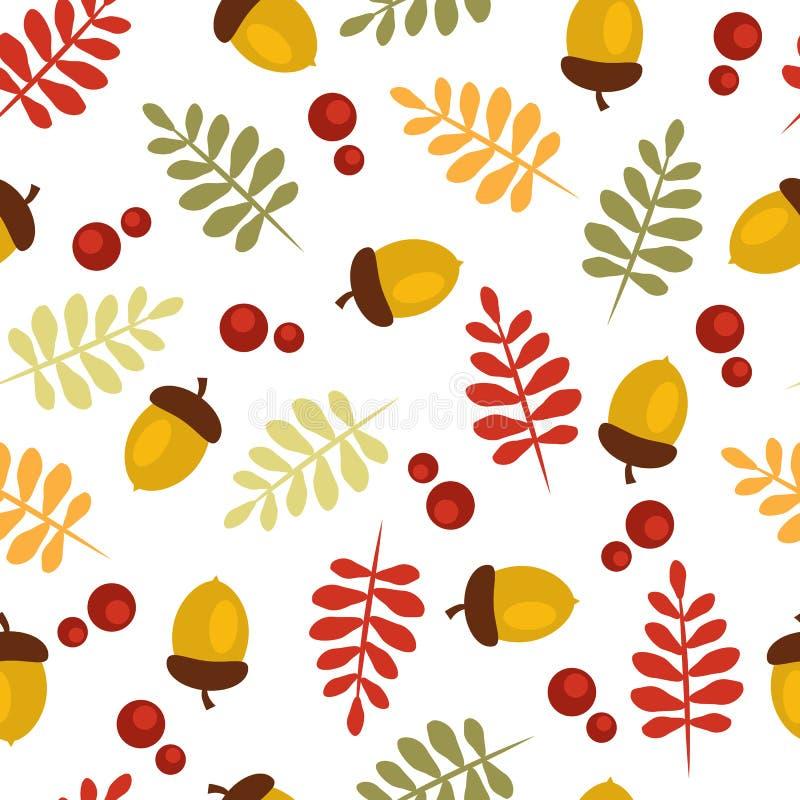 Modelo del otoño con las bellotas y las hojas libre illustration