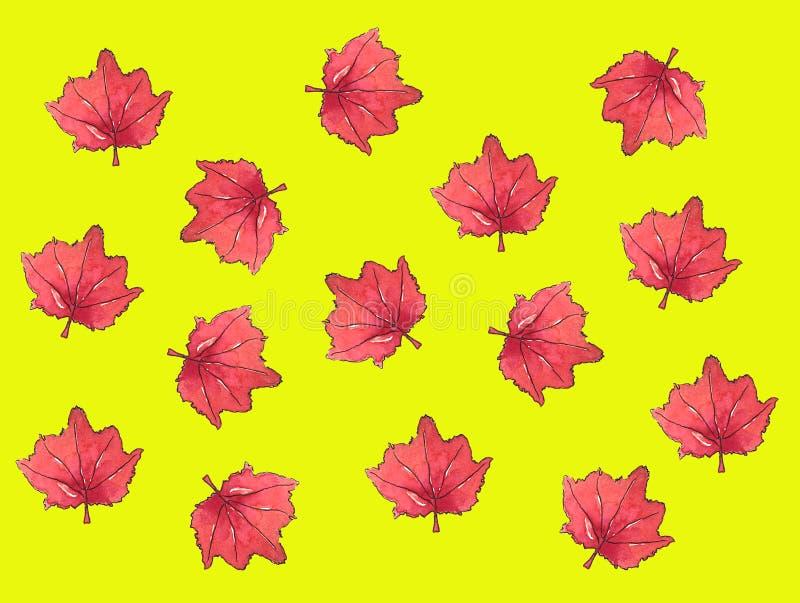 Modelo del otoño de la hoja de arce del fondo de la acuarela de la hoja de arce stock de ilustración