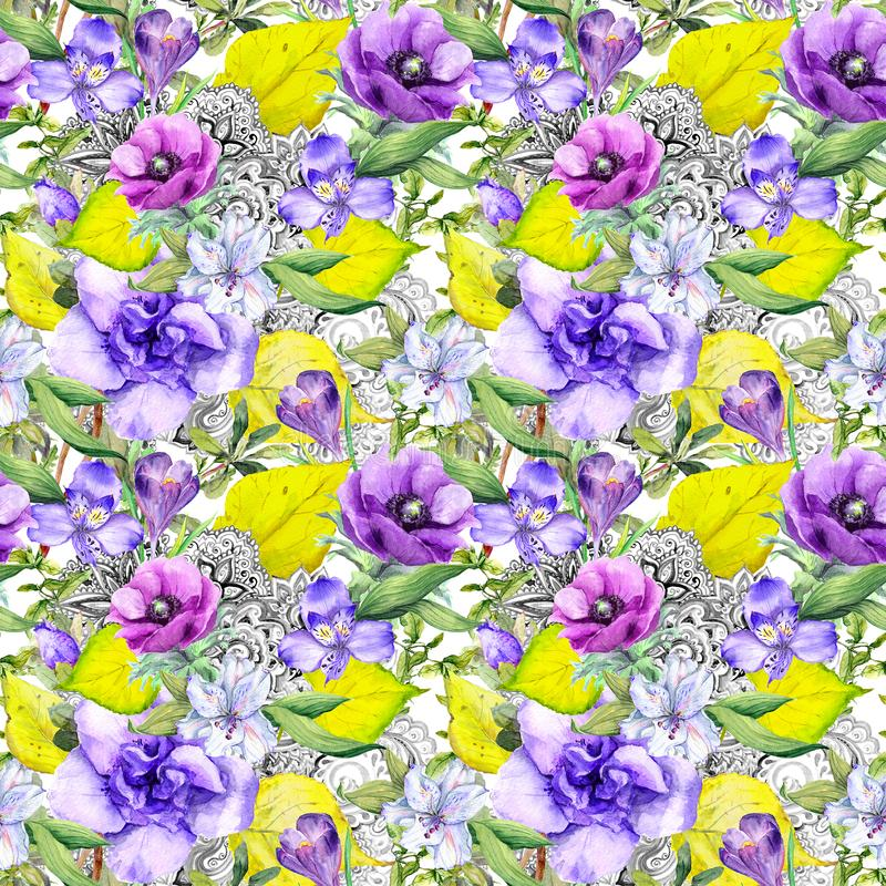 Modelo del otoño - flores, hojas de otoño, diseño adornado en estilo del vintage Fondo floral inconsútil watercolor imágenes de archivo libres de regalías