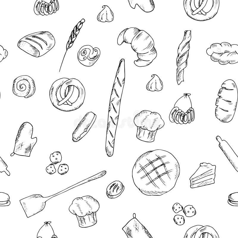 Modelo del pan y del backery ilustración del vector