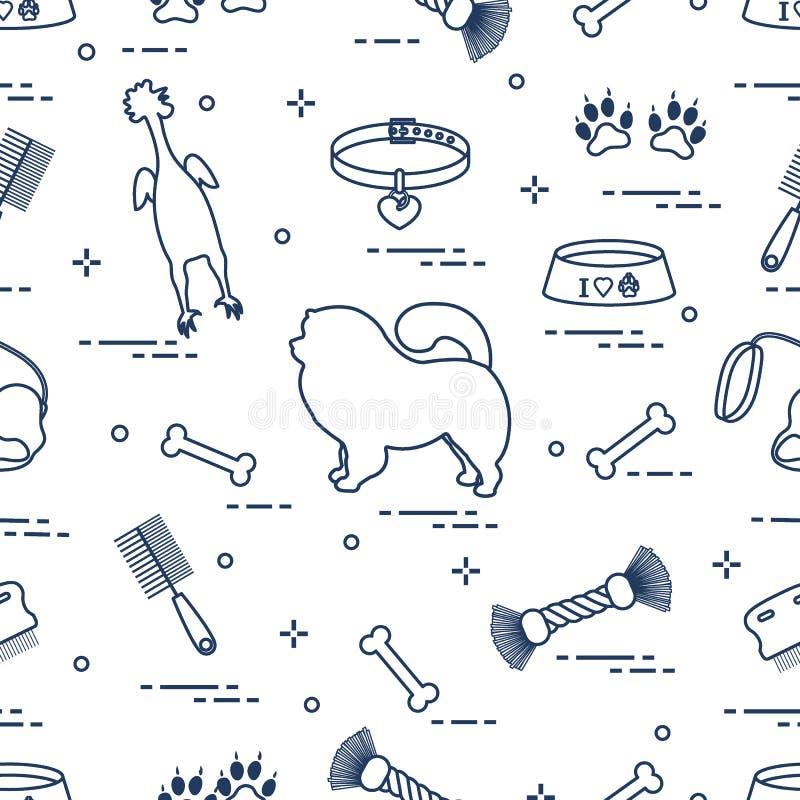 Modelo del perro del chow-chow de la silueta, del cuenco, del hueso, del cepillo, del peine, de juguetes y de otros artículos al  stock de ilustración