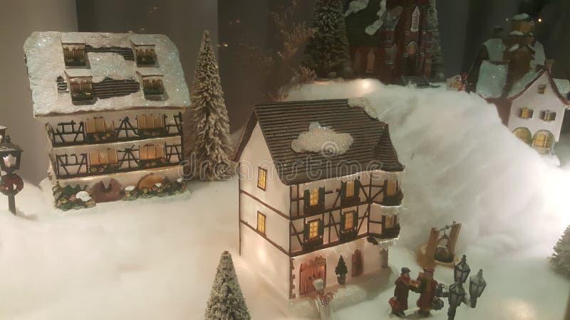 Modelo del pueblo del invierno fotos de archivo libres de regalías