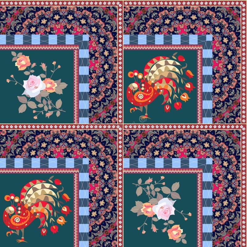 Modelo del remiendo con los pavos reales y los ramos de hadas de rosas stock de ilustración