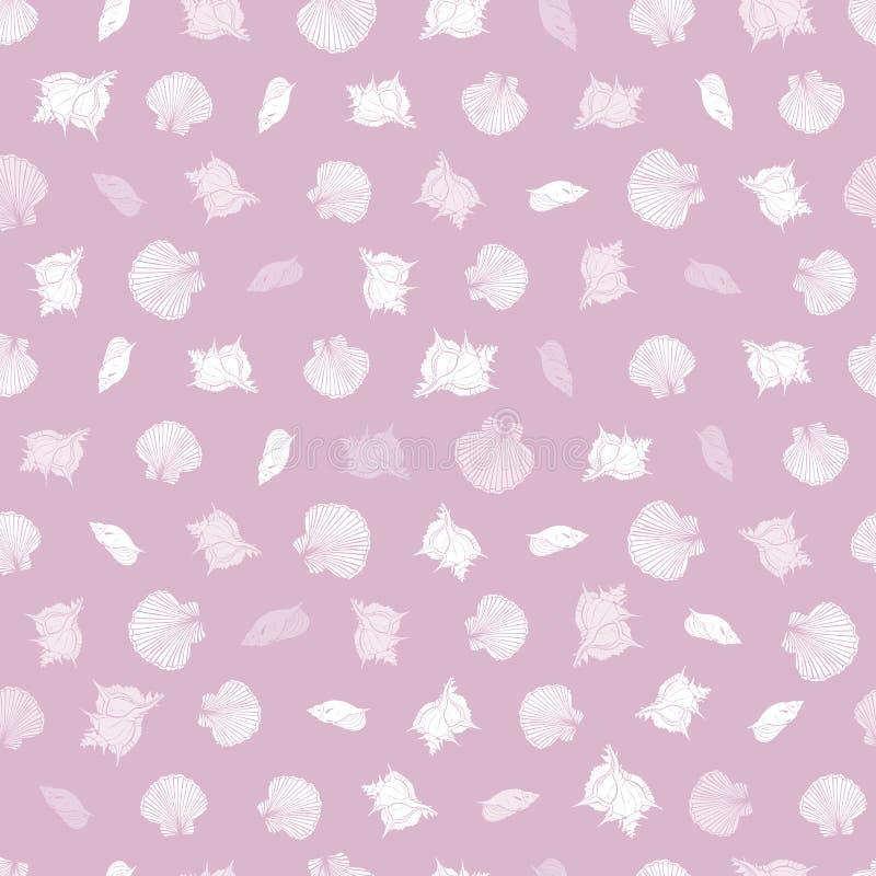 Modelo del rosa del vector y blanco de la repetición con las conchas marinas Tema rom?ntico Conveniente para el papel de regalo,  libre illustration