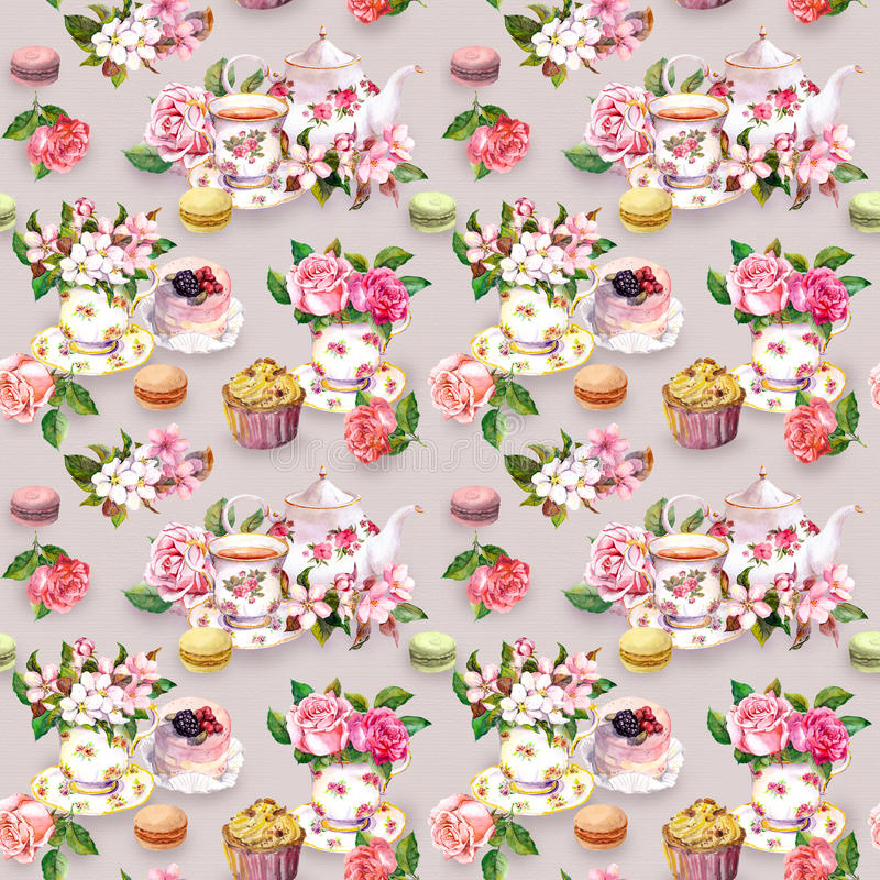 Modelo del Teatime: flores, taza de té, torta, tetera watercolor Fondo inconsútil foto de archivo