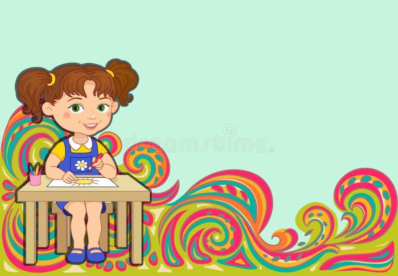 Modelo del Tracery textura armoniosa colorida étnica del garabato de la escuela de la muchacha Discreto indiferente Curvado garab ilustración del vector