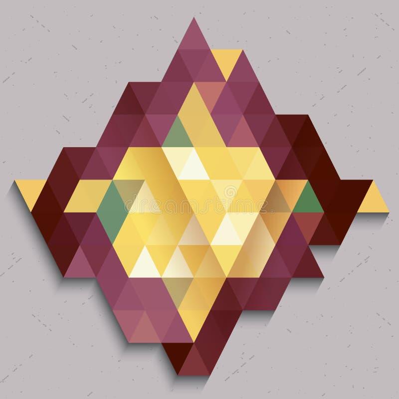 Modelo del triángulo en el extracto de la forma del diamante colorido libre illustration