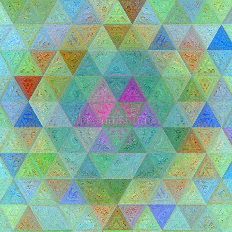 Modelo del triángulo del mosaico en el efecto del qith de los colores en colores pastel de creyones foto de archivo
