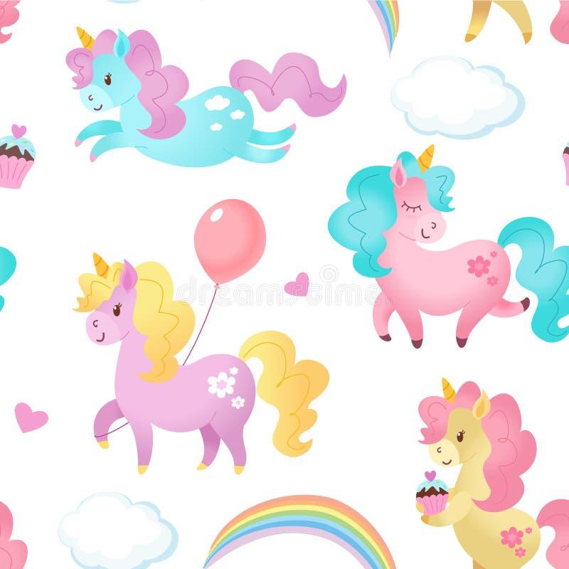 Modelo del unicornio Textura inconsútil del vector libre illustration