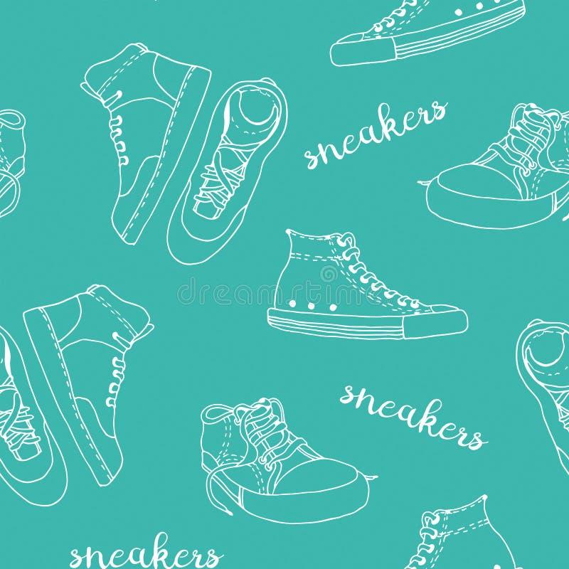 Modelo del vector del bosquejo de las zapatillas de deporte fotos de archivo