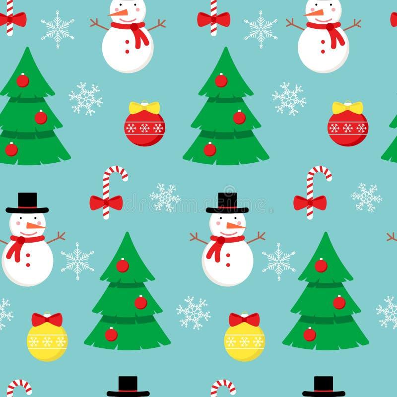 Modelo del vector con el muñeco de nieve, los árboles de navidad y los elementos de la decoración libre illustration