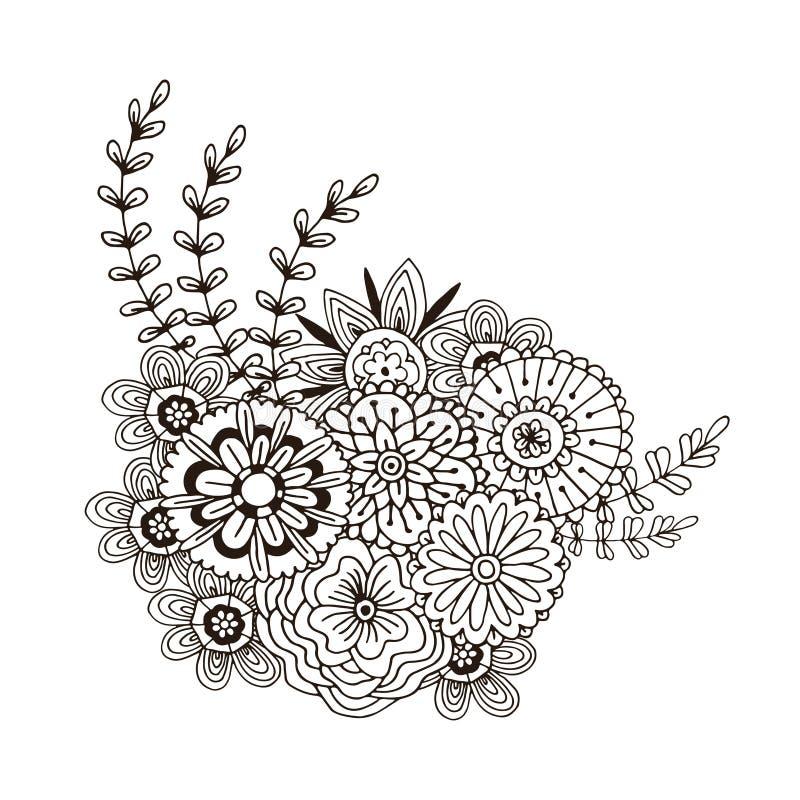 Modelo del vector con el ornamento abstracto de flores Página adulta del libro de colorear Arte de Zentangle para el diseño ilustración del vector