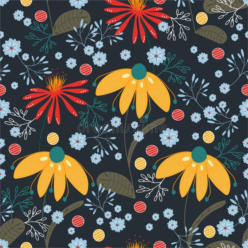 Modelo del vector con las flores amarillas, rojas, azules, de la turquesa y las hojas Textura, fondo, papel pintado stock de ilustración
