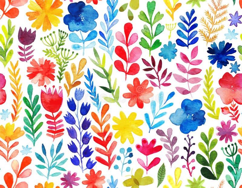 Modelo del vector con las flores y las plantas Decoración floral Fondo inconsútil floral original ilustración del vector
