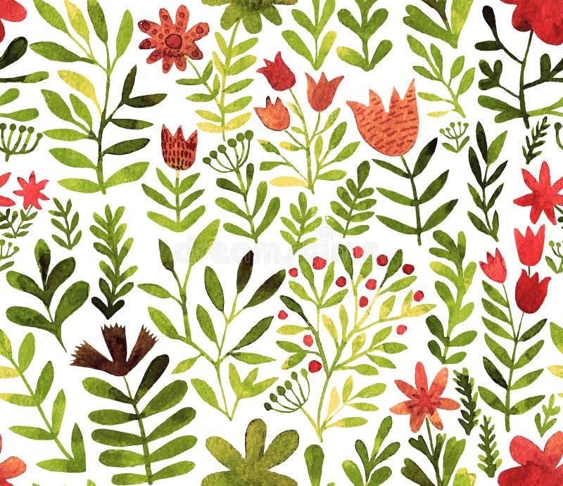 Modelo del vector con las flores y las plantas Decoración floral Fondo inconsútil floral original Acuarela brillante de los color libre illustration