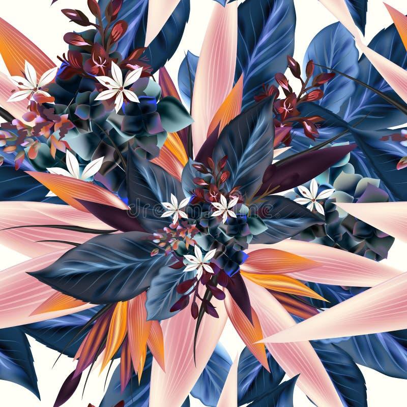 Modelo del vector con las plantas tropicales, hojas Ideal para la tela p libre illustration