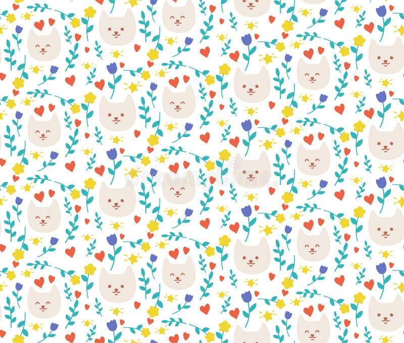 Modelo del vector con los gatos y las flores imágenes de archivo libres de regalías