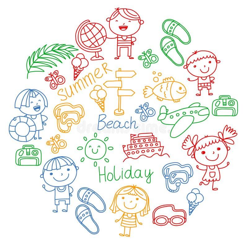 Modelo del vector con los iconos de los niños Vacaciones de verano en la costa, mar, océano, playa Pequeños niños que se divierte ilustración del vector