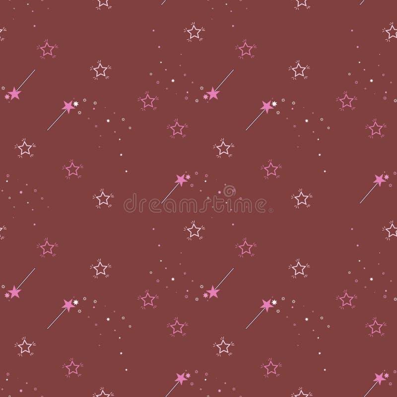 Modelo del vector con los palillos y las estrellas mágicos Modelo mágico la tela de la cubierta, libros libre illustration
