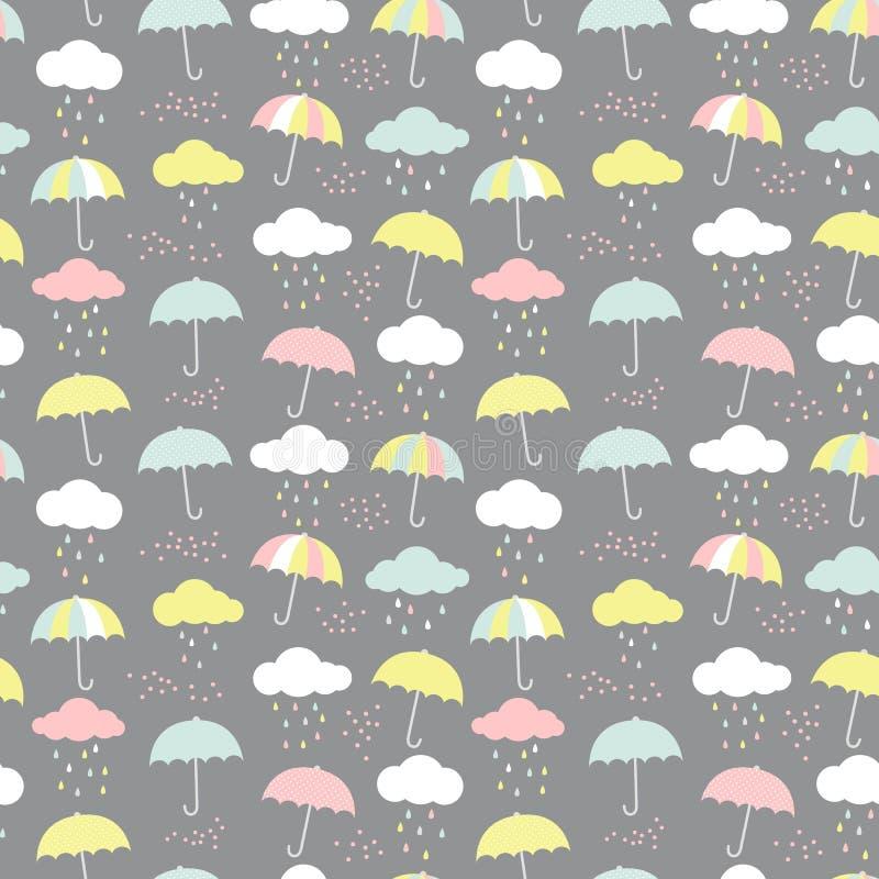 Modelo del vector con los paraguas, las nubes y las gotas de agua Fondo inconsútil colorido para los niños libre illustration