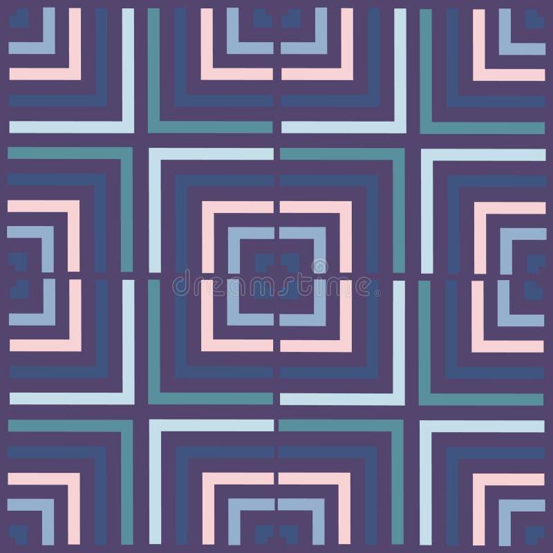 Modelo del vector del cuadrado de la geometría Ornamento inconsútil étnico Fondo abstracto - líneas coloridas ilustración del vector