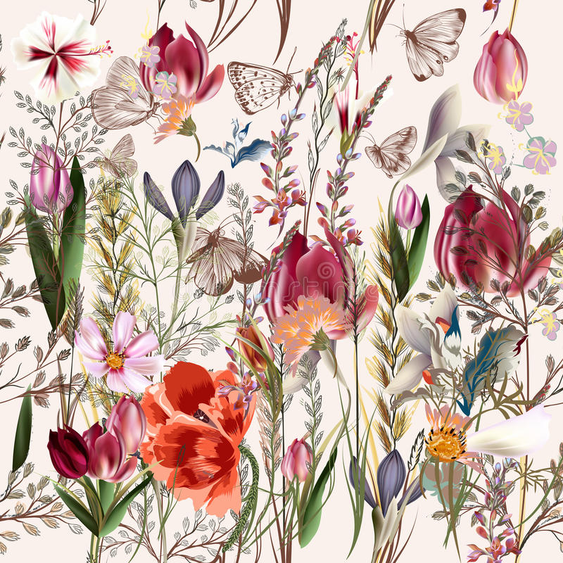 Modelo del vector de la flor con las plantas accorted ilustración del vector