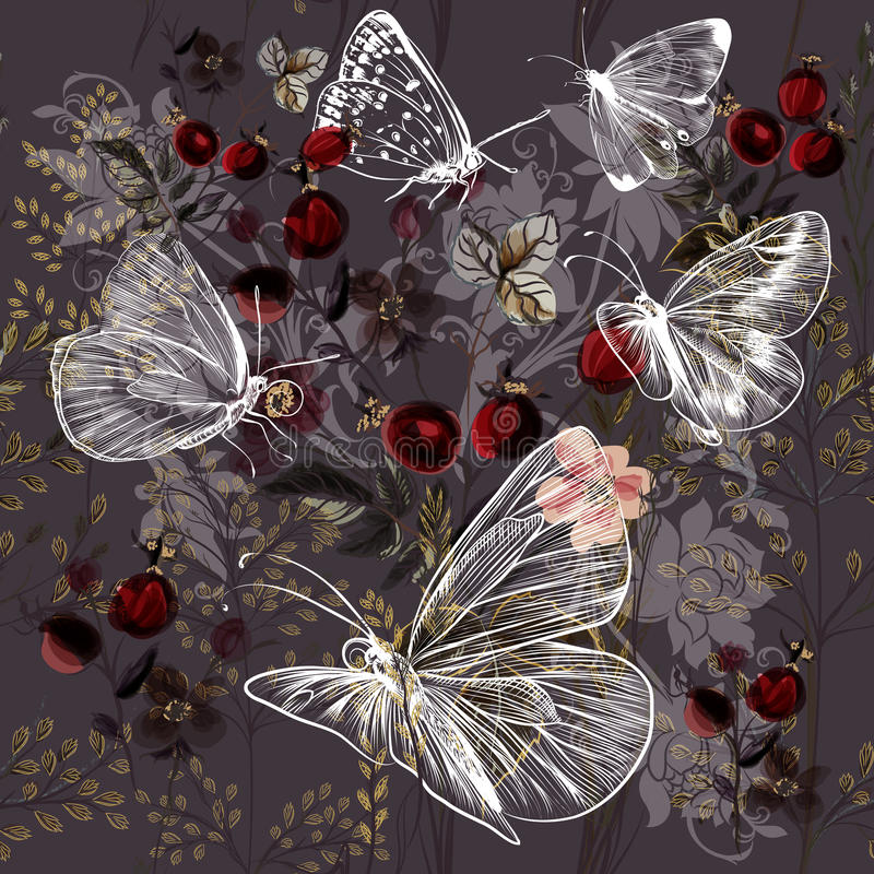 Modelo del vector de la flor con las plantas y las mariposas stock de ilustración