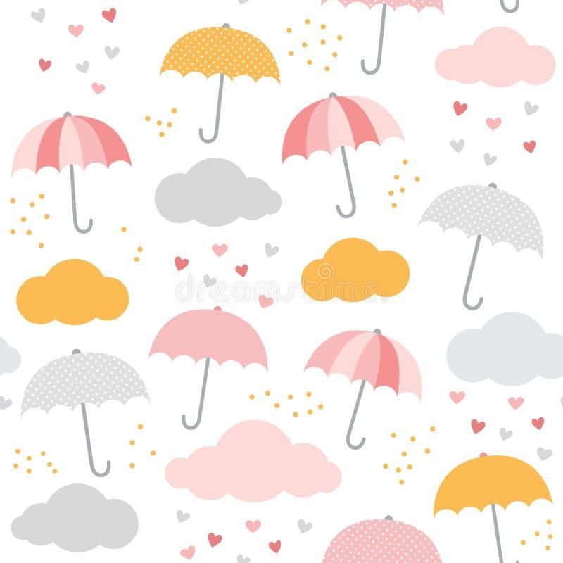 Modelo del vector de la lluvia Paraguas lindo, nube, gotas de agua, corazones Bebé, diseño inconsútil de la impresión del niño ilustración del vector