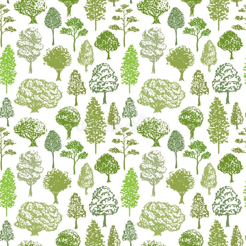 Modelo del vector de los árboles Bosqueje el modelo verde inconsútil del árbol para el fondo de la materia textil o del eco stock de ilustración