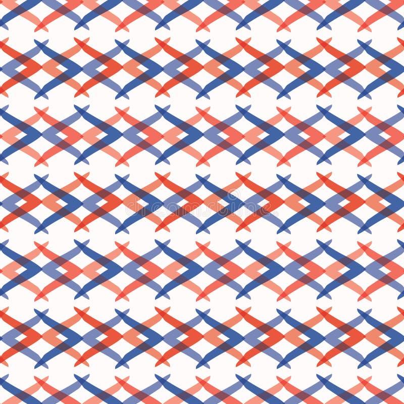 Modelo del vector de Memphis Style Weave Stripes Seamless, líneas que entrelazan dibujadas mano stock de ilustración