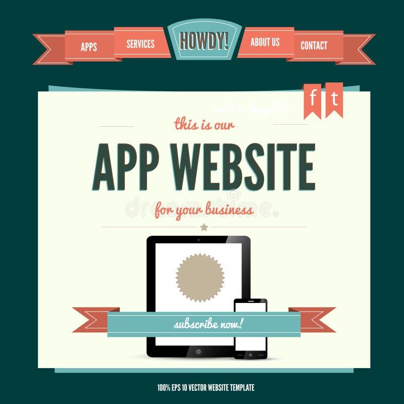 Modelo del vector del Web site con estilo del wintage ilustración del vector