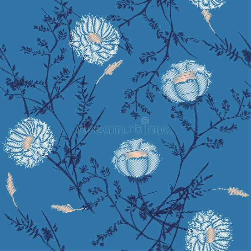 Modelo del vector hermoso del bordado de las flores para el desig de la materia textil libre illustration