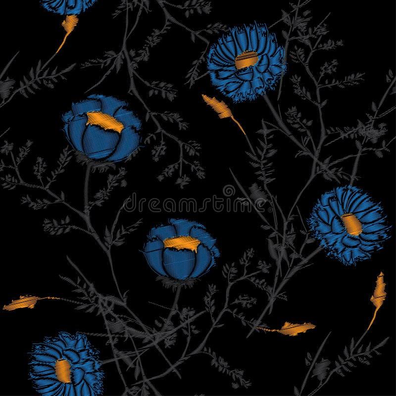 Modelo del vector hermoso oscuro del bordado de las flores para la materia textil ilustración del vector