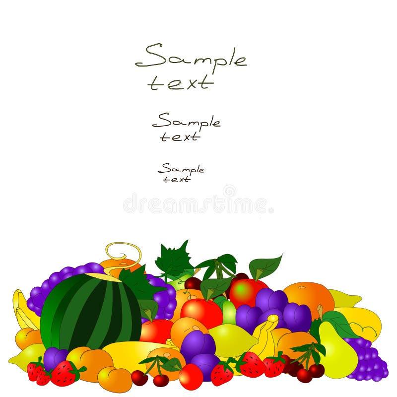 Modelo del verano con las frutas en el fondo blanco stock de ilustración