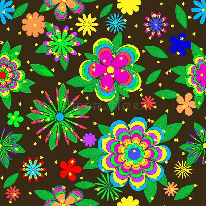 Modelo del verano de las historietas de los niños con las flores, las hojas y las estrellas libre illustration