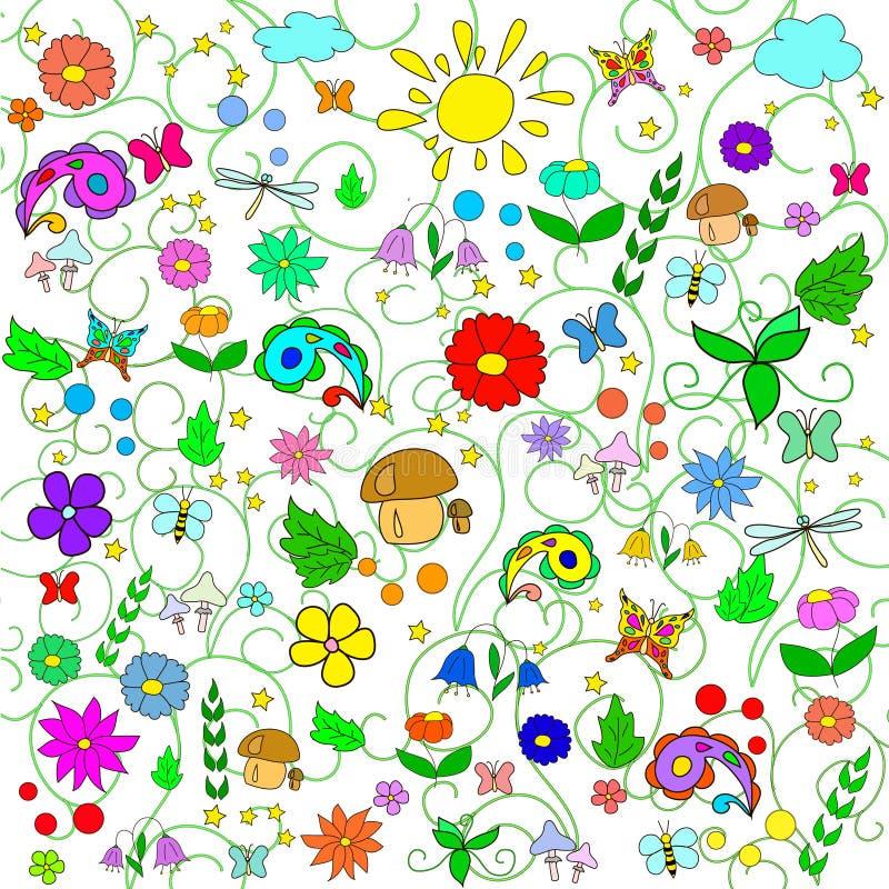 Modelo del verano de los niños con las flores, las hojas, las setas, el sol, las nubes, las libélulas, las abejas, las estrellas  stock de ilustración