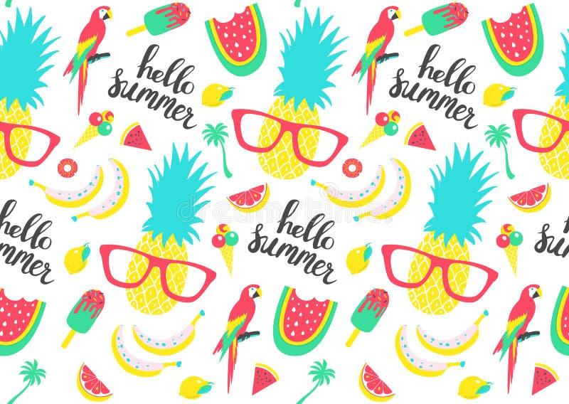 Modelo del verano Sandía, piña y elementos del día de fiesta ilustración del vector