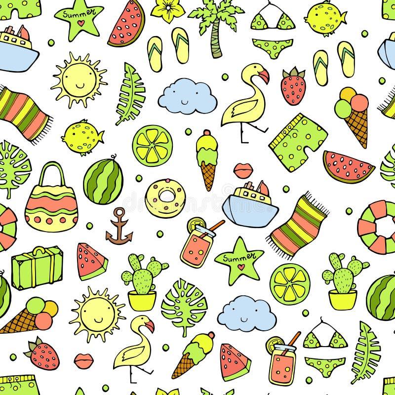 Modelo del verano Sandía, piña y elementos del día de fiesta Ejemplo del vector del verano stock de ilustración