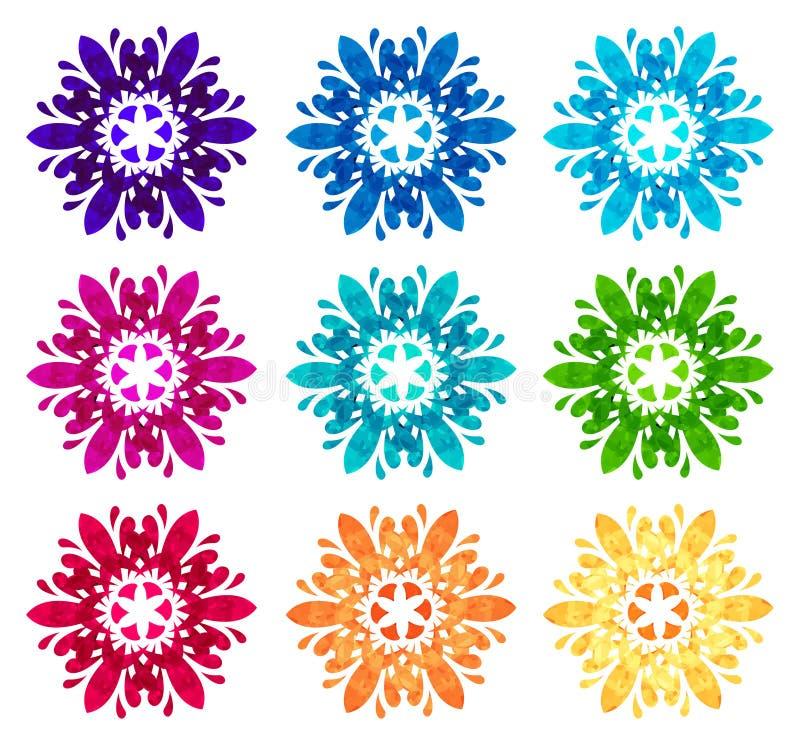 Modelo del Watercolour - sistema de nueve flores abstractas stock de ilustración