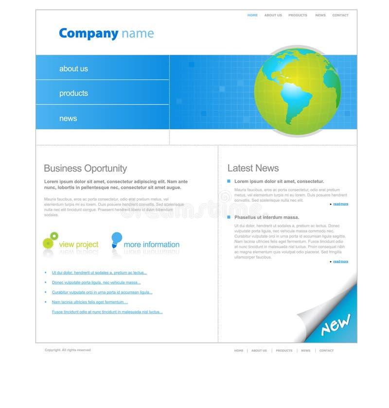 Modelo del Web site con el globo. ilustración del vector