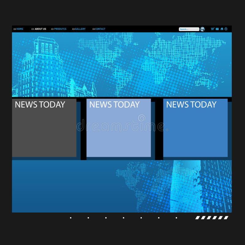 Modelo del Web site con el globo ilustración del vector